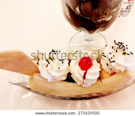 Ice cream in a cup of glass - stock photo