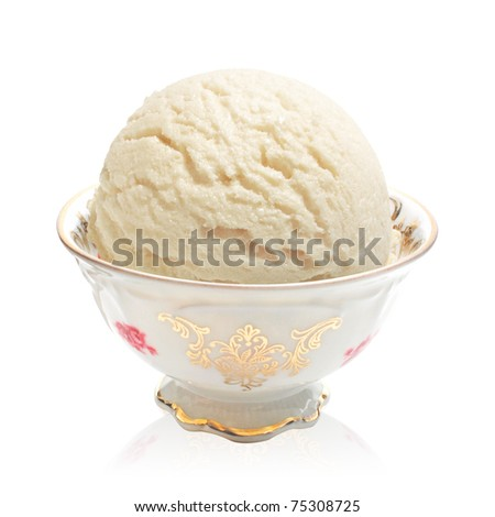 Ice cream in antique bowl on white background