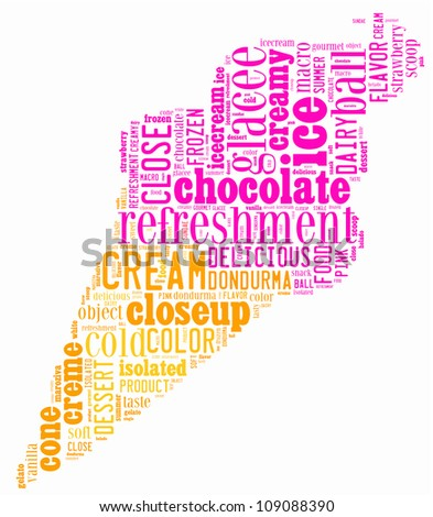 ice-cream info-text graphics composed in ice-cream shape concept on white background