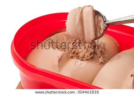 Ice cream of rum and chocolate in a metal spoon over plastic box. - stock photo