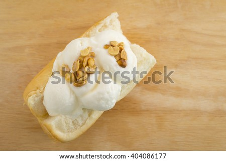 ice cream on bread thai sweet on wood background, copy space