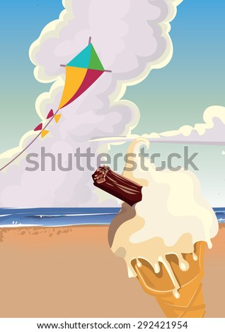 Ice cream on the beach with a kit in the air.
