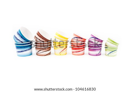 Ice cream paper cups isolated on white backgrounds - stock photo