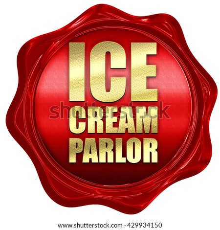 ice cream parlor, 3D rendering, a red wax seal - stock photo