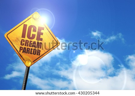 ice cream parlor, 3D rendering, glowing yellow traffic sign  - stock photo