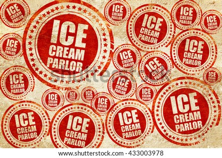 ice cream parlor, red stamp on a grunge paper texture - stock photo