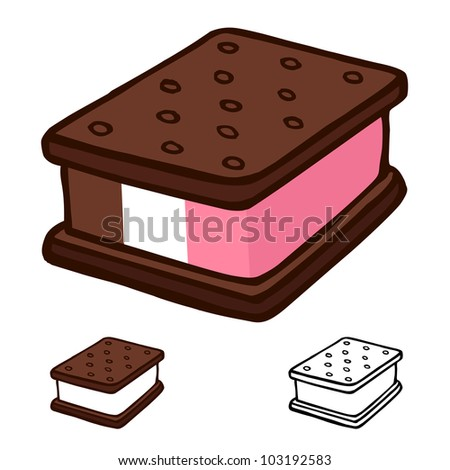Ice cream sandwich cartoon illustration design vector