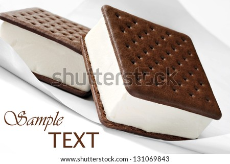 Ice cream sandwiches on freezer paper.  Macro with shallow dof.