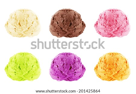 Ice cream scoops on white background with clipping path. - stock photo
