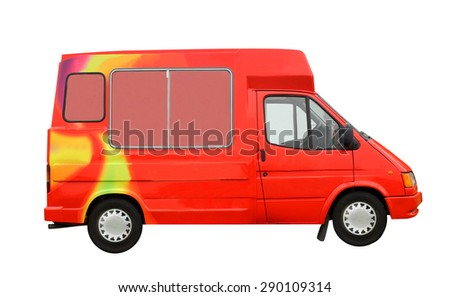 Ice Cream van isolated on a white background. - stock photo