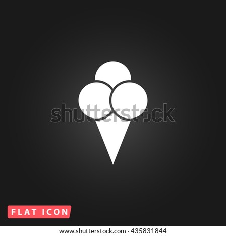 Ice cream White flat icon on dark background. Simple illustration pictogram - stock photo