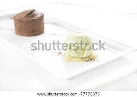 ice cream with chocolate cake on a plate