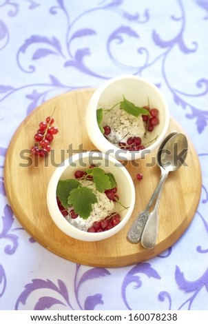 Ice cream with chocolate chips and red currant - stock photo