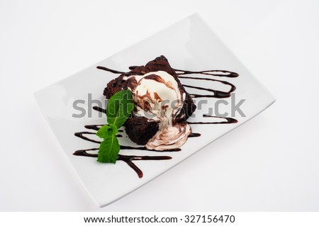 Ice cream with Chocolate topping. Dessert on grey - stock photo
