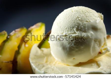 ice cream with fresh fruit - stock photo