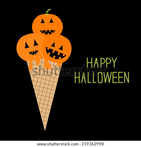 Ice cream with pumpkin Happy Halloween card Flat design style.  - stock photo