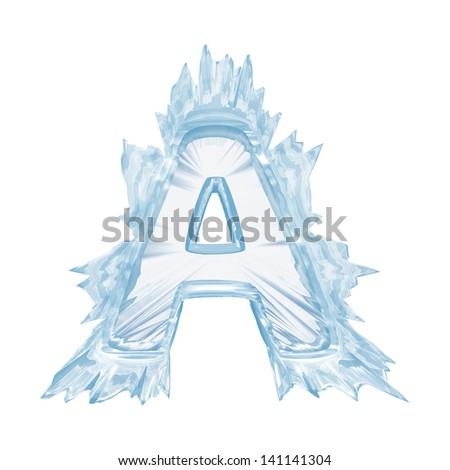 Ice crystal  font. Letter A.Upper case.With clipping path  - stock photo