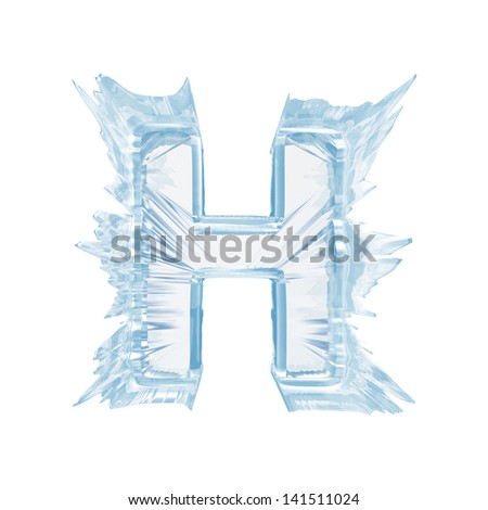 Ice crystal  font. Letter H.Upper case.With clipping path  - stock photo