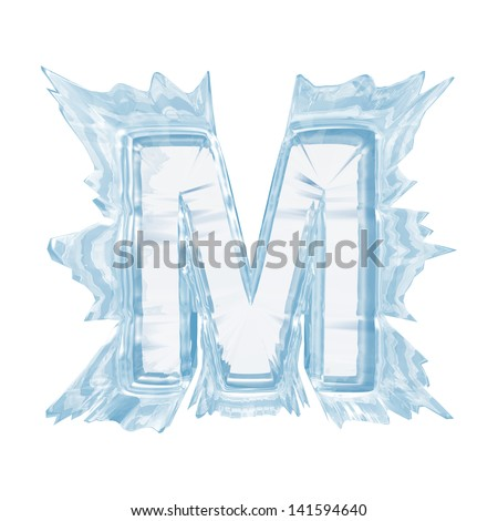 Ice crystal  font. Letter M.Upper case.With clipping path  - stock photo