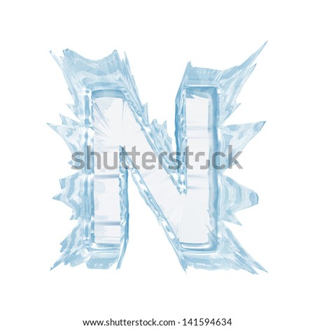 Ice crystal  font. Letter N.Upper case.With clipping path  - stock photo