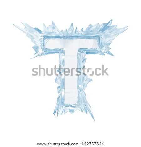 Ice crystal  font. Letter T.Upper case.With clipping path  - stock photo