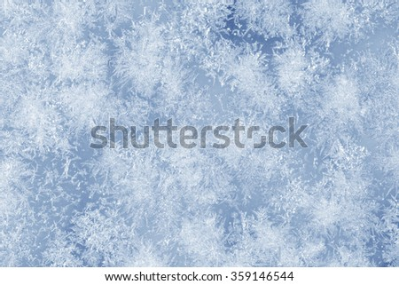 Ice crystals on a glass window during winter. Blue color - stock photo