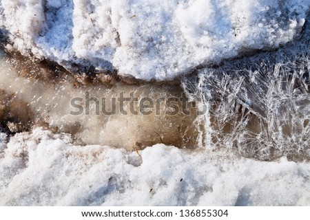 ice crystals under melting snow stream in spring forest - stock photo