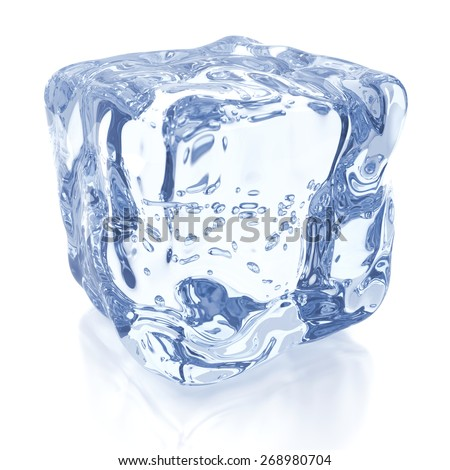 Ice cube against white, 3D render - stock photo