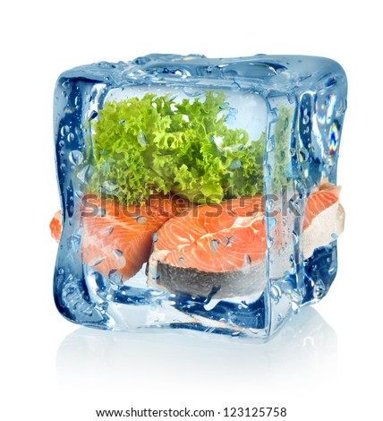 Ice cube and fish isolated on a white background
