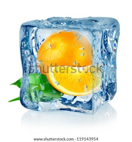 Ice cube and orange isolated on a white background - stock photo