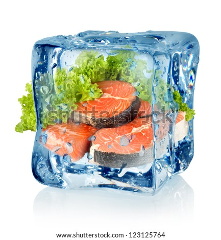 Ice cube and salmon isolated on a white background