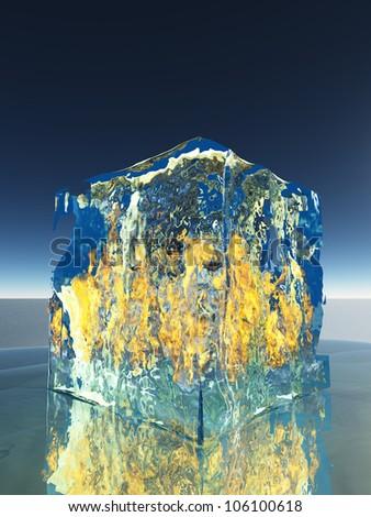Ice Cube Burning  Inside Itself - stock photo