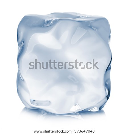 Ice cube close-up isolated on a white background. - stock photo