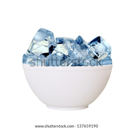 Ice cube in the cup. - stock photo