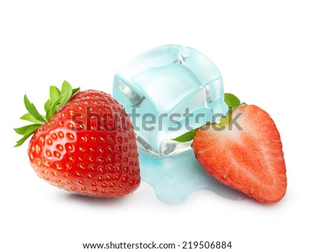 Ice cube in water drop and strawberry isolated on white background.