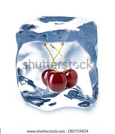 ice cube isolated and cherry - stock photo