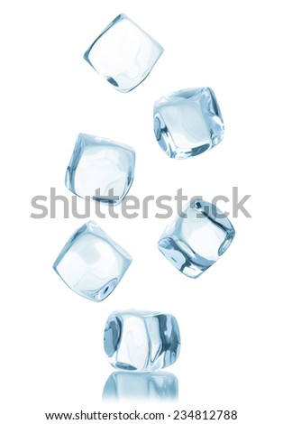 Ice cube isolated on white background. - stock photo