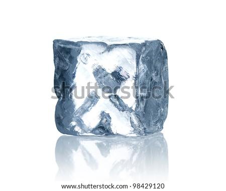 Ice cube isolated on white background - stock photo