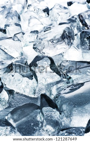 Ice cube of background material, close-up shoot