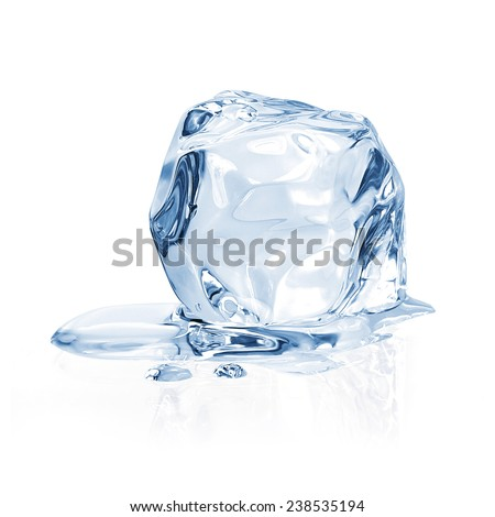 Ice cube on white background including clipping path - stock photo