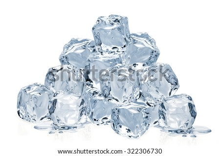 Ice cube pile isolated on white background - stock photo