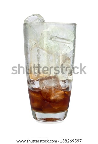 ice cube splashing into glass of coke white background.