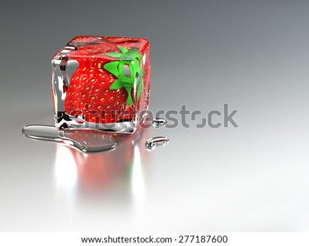 Ice Cube Strawberry - stock photo