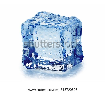 Ice cube with drops, isolated on white background - stock photo