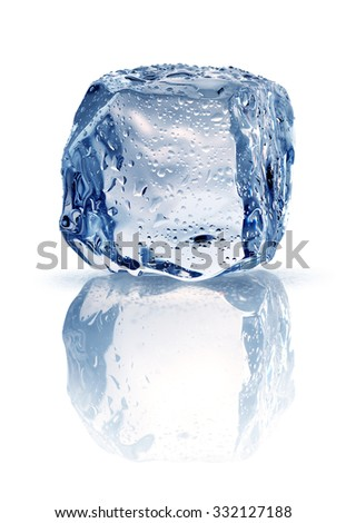 Ice cube with drops of water isolated on white