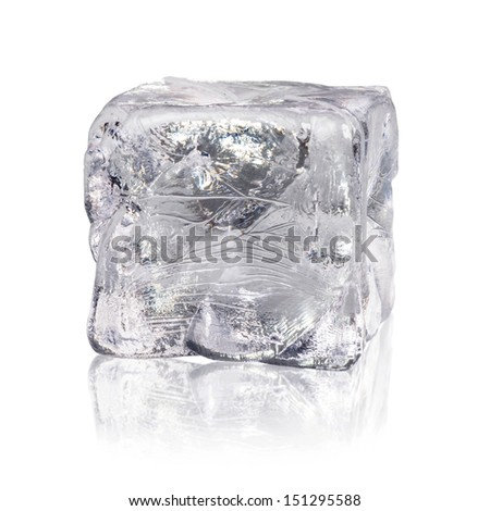 ice cube with reflexion isolated before white background - stock photo