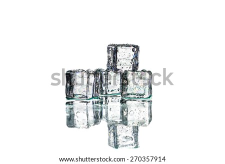 Ice cubes and reflect on on white background - stock photo