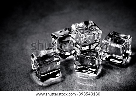 Ice cubes. Black and white. - stock photo