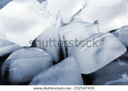 Ice cubes close-up - stock photo