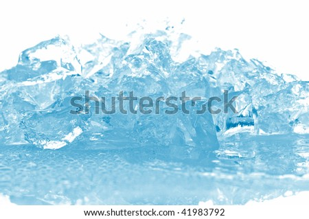 ice cubes in blue light - stock photo